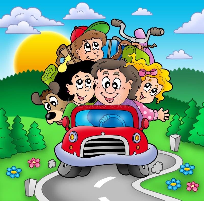 Familia feliz que va el vacaciones stock de ilustración
