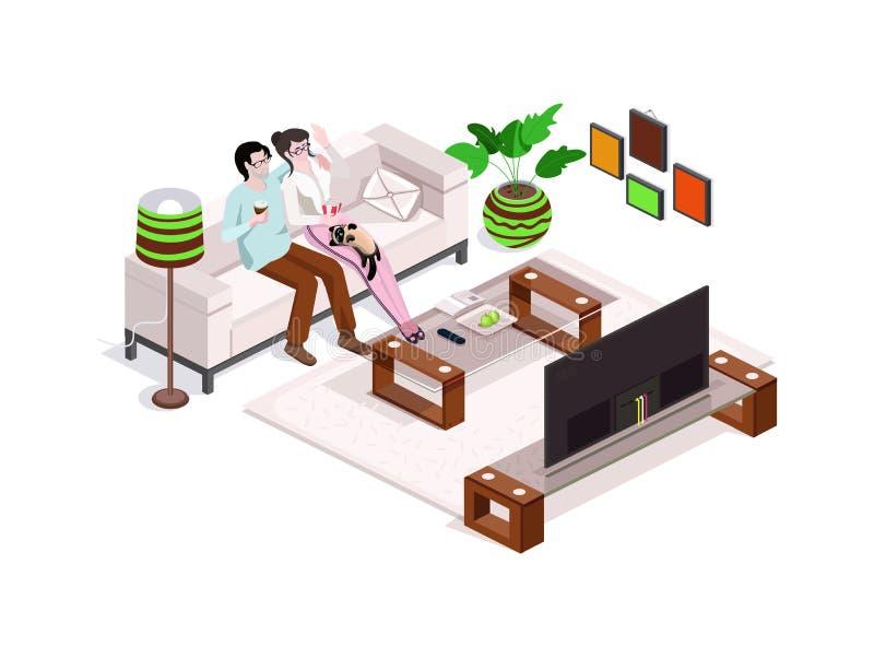 Familia feliz que ve la TV en casa, interior con muebles Hombre y mujer en el sofá imagen de archivo