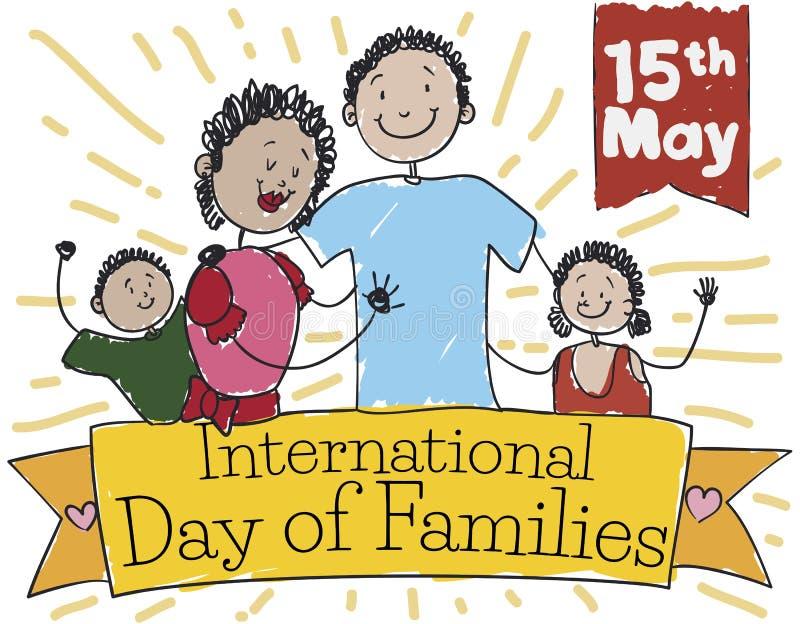 Familia feliz sobre cinta que celebra el día internacional de familias, ejemplo del vector stock de ilustración