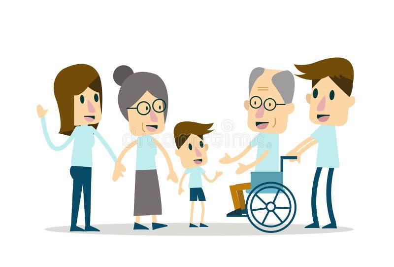 Familia feliz y cuidado mayor stock de ilustración