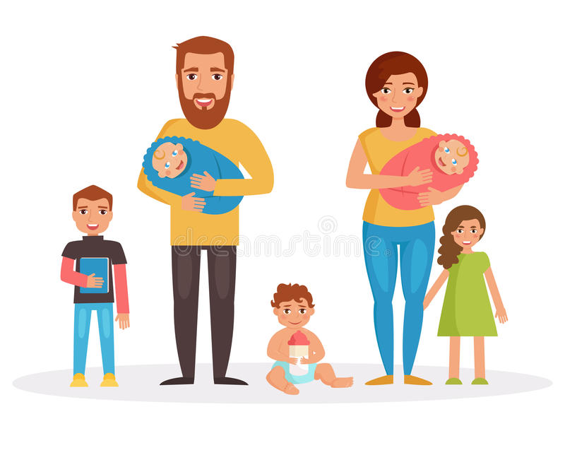 Familia grande Arte aislado ilustración del vector