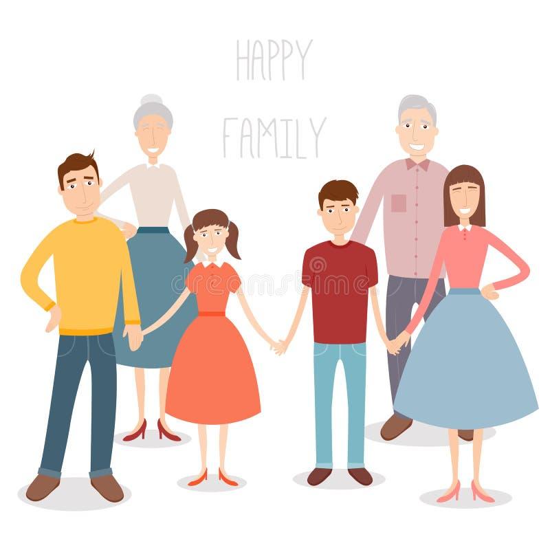 Familia grande con los niños, los padres y los abuelos Retrato de la familia aislado en el fondo blanco Vector stock de ilustración