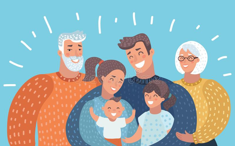 Familia grande con los padres, niños, abuelos, stock de ilustración
