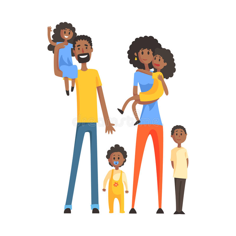 Familia grande con los padres y cuatro niños, parte de serie de los miembros de la familia de personajes de dibujos animados ilustración del vector