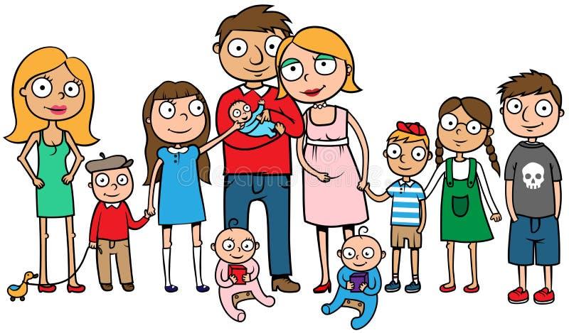 Familia grande con muchos niños stock de ilustración