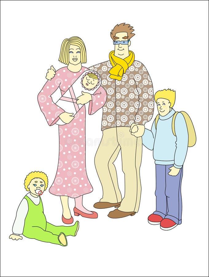 Familia grande de cinco personas en color en el fondo blanco Ilustración del vector ilustración del vector