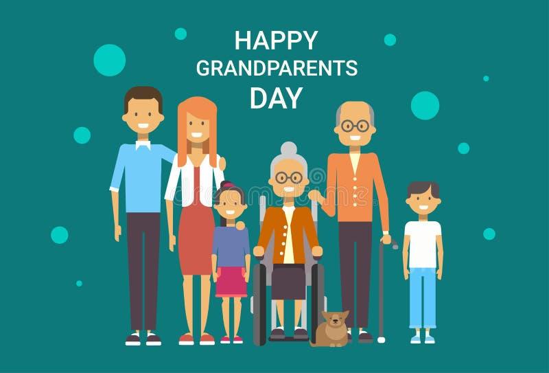 Familia grande de los abuelos del día de felicitación de la bandera feliz de la tarjeta junto libre illustration
