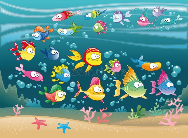 Familia grande de pescados en el mar ilustración del vector