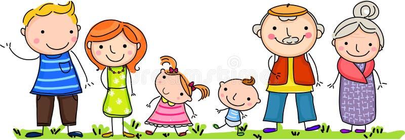 Familia grande feliz con los niños libre illustration