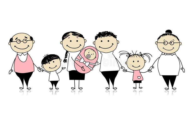 Familia grande feliz con los niños, bebé recién nacido stock de ilustración