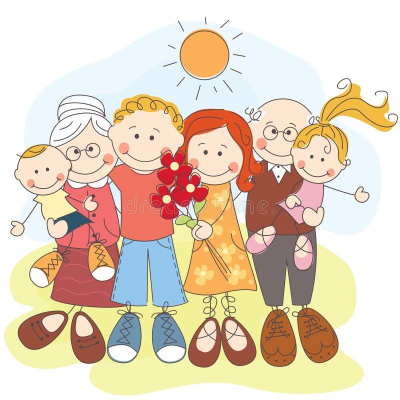 Familia grande feliz junto libre illustration