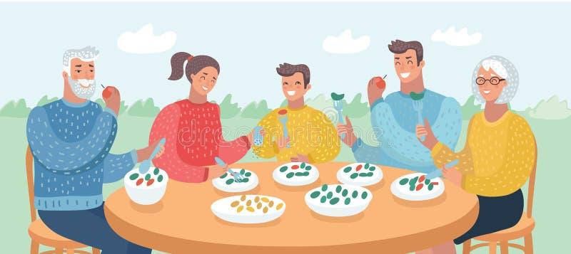 Familia grande feliz que come la cena junto stock de ilustración