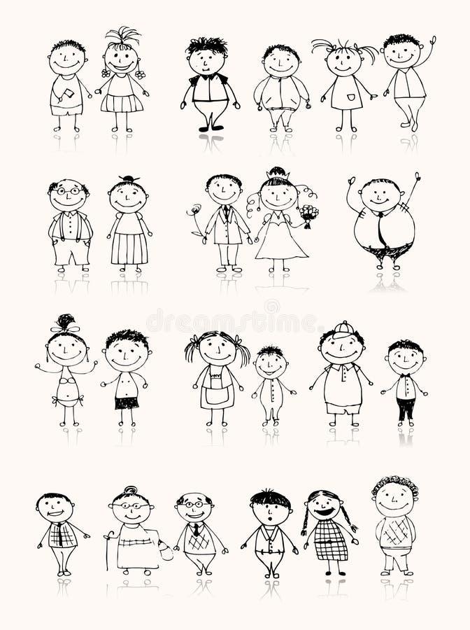 Familia grande feliz que sonríe junto, bosquejo de drenaje stock de ilustración