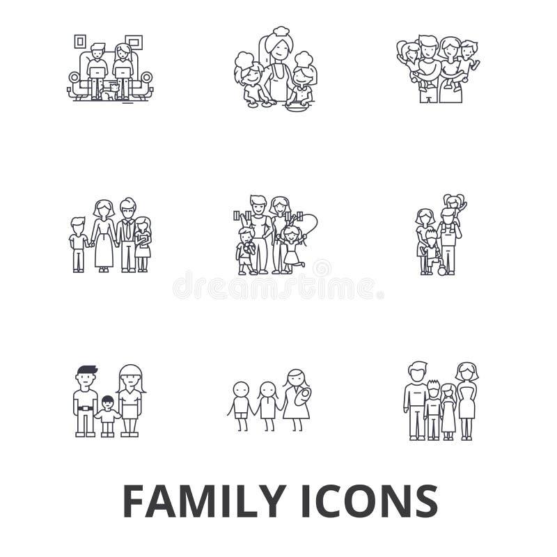 Familia, happieness, hogar, diversión, par, árbol de familia, retrato de la familia, línea iconos de las vacaciones Movimientos E ilustración del vector