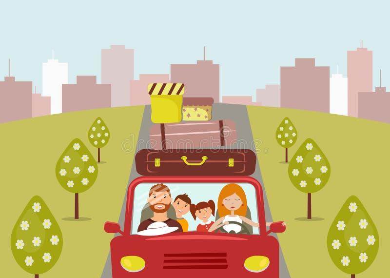 Familia hermosa de la historieta: el hombre joven, la mujer, el hijo y la hija van a las vacaciones La mamá está conduciendo un c ilustración del vector