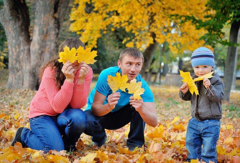 Familia hermosa feliz que se relaja en parque del otoño fotos de archivo libres de regalías