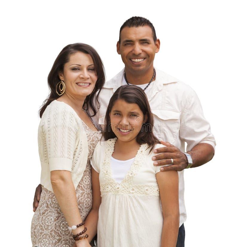 Familia hispánica aislada en blanco imagenes de archivo