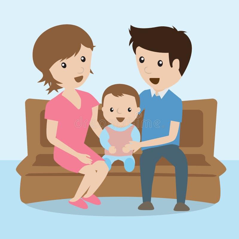 Familia historieta stock de ilustración