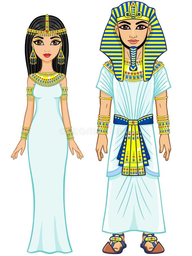 Familia imperial egipcia de la animación en ropa antigua