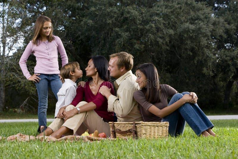 Familia interracial de cinco que tienen comida campestre en parque imagenes de archivo