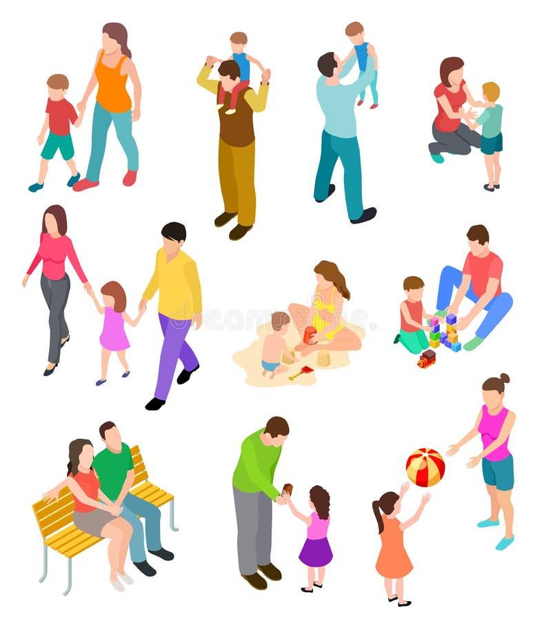 Familia isom?trica Padres de los niños en diversos hogar y actividad al aire libre sistema del vector de las familias de la gente libre illustration