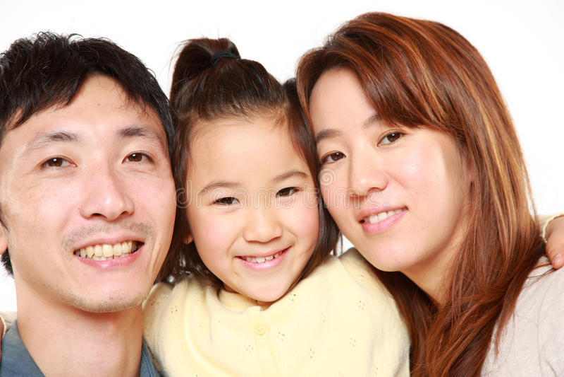 Familia japonesa de tres fotos de archivo libres de regalías