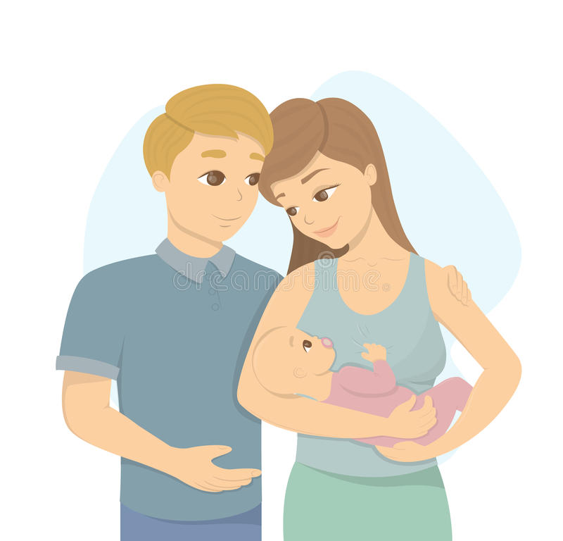 Familia joven con el bebé ilustración del vector