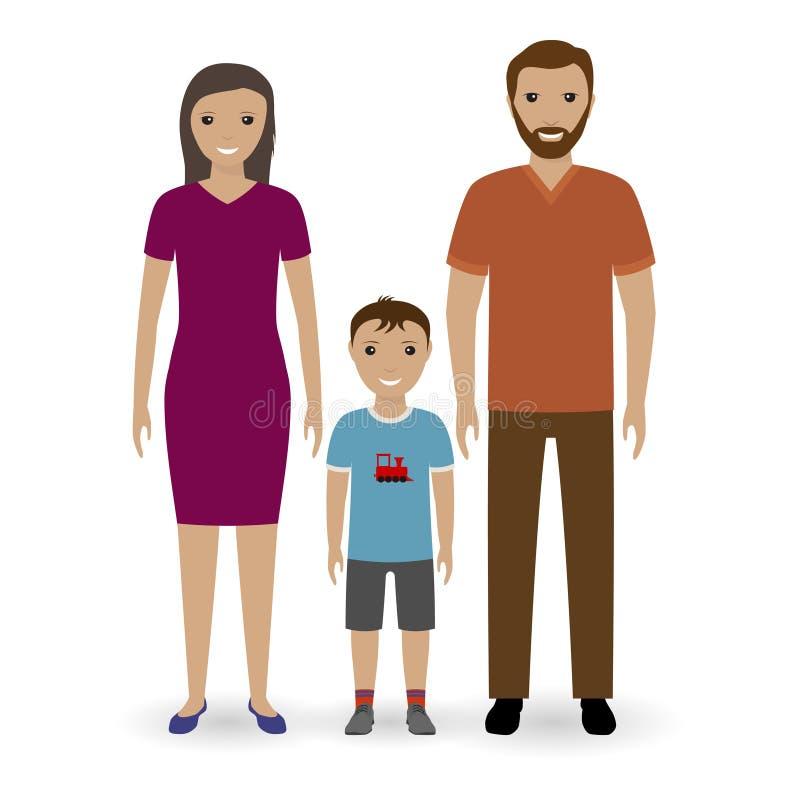 Familia joven feliz que se une Padre y madre con el muchacho del niño aislado en un fondo blanco stock de ilustración