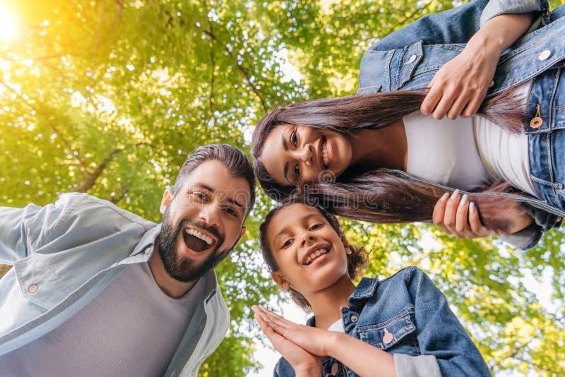 Familia joven feliz que se une y que sonríe en la cámara en parque foto de archivo libre de regalías