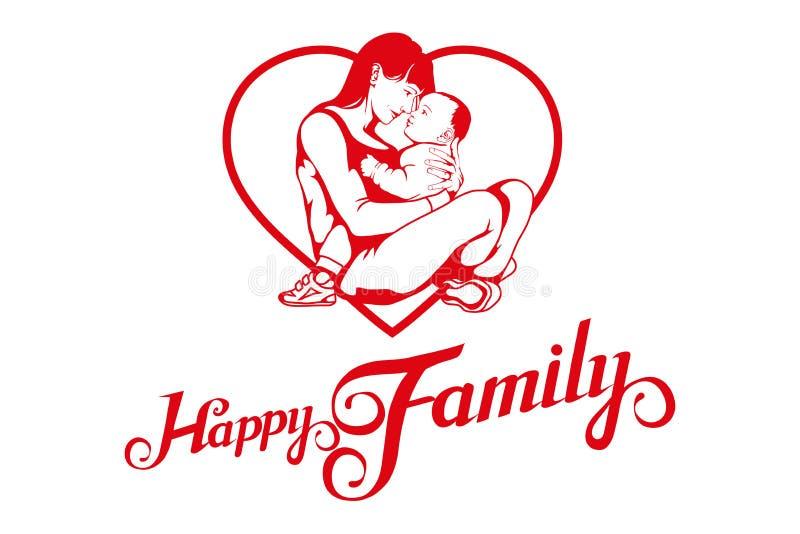 Familia joven feliz Vida familiar idílica stock de ilustración