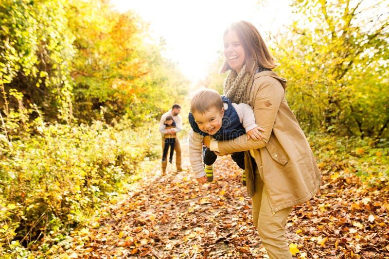 Familia joven hermosa en un paseo en bosque del otoño fotos de archivo libres de regalías