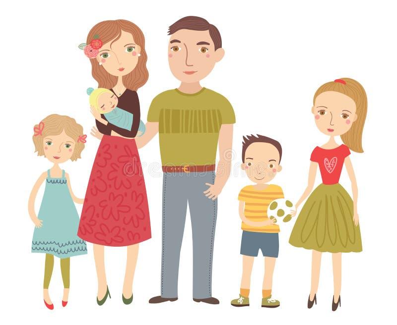 Familia joven Padres y niños ilustración del vector