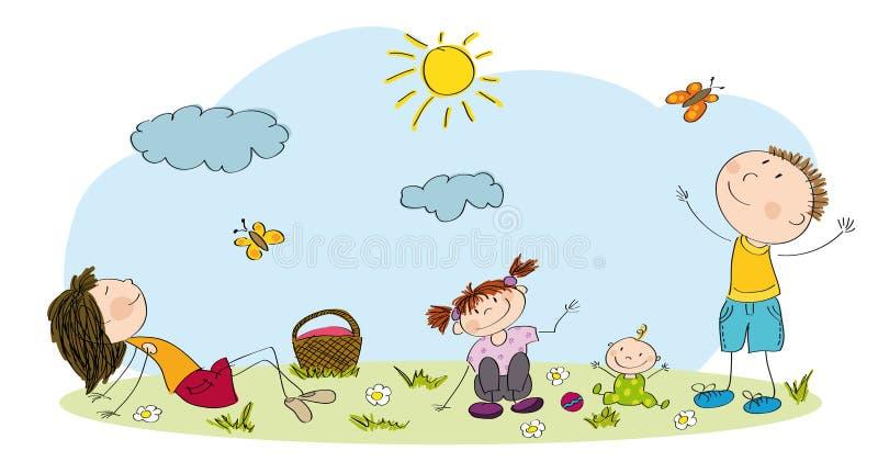 Familia joven que tiene comida campestre en el parque ilustración del vector