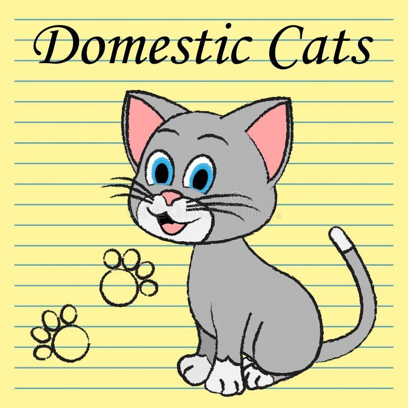 Familia Kitty And Pedigree de las demostraciones de los gatos nacionales ilustración del vector