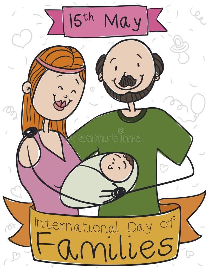 Familia linda con su bebé que celebra el día internacional de familias, ejemplo del vector libre illustration