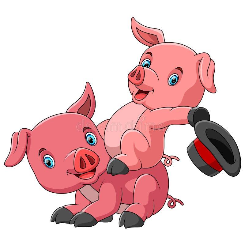Familia linda de la historieta de cerdo que juega junto libre illustration