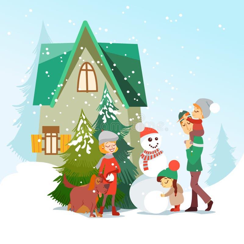 Familia linda de la historieta que hace un muñeco de nieve delante de poca casa acogedora stock de ilustración