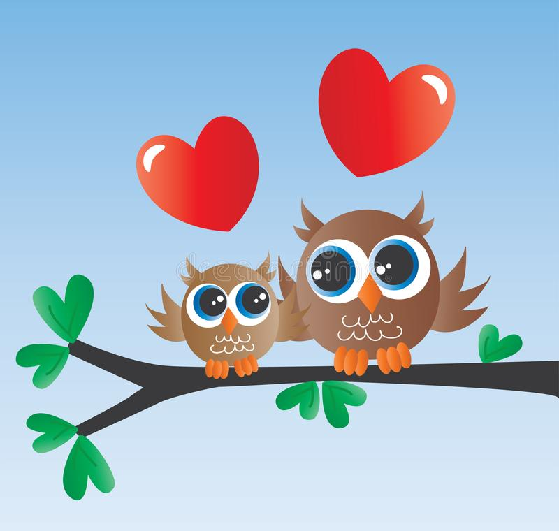 Familia linda del amor de dos búhos recién nacida ilustración del vector