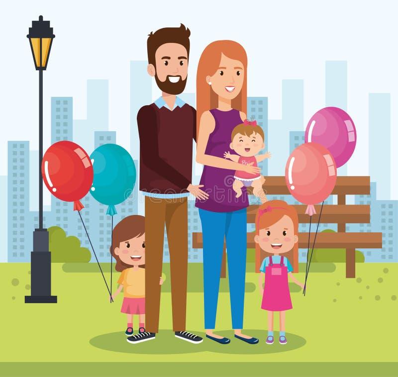 Familia linda feliz en los caracteres del parque libre illustration