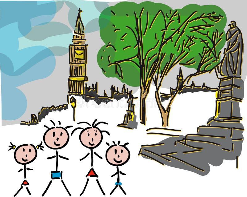 Familia Londres Big Ben fotos de archivo