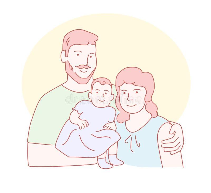 Familia Mamá, vector del nddaughter del papá L?nea arte Arte aislado en el fondo blanco plano libre illustration