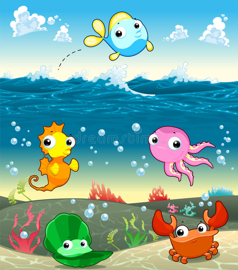 Familia marina divertida en el mar. stock de ilustración