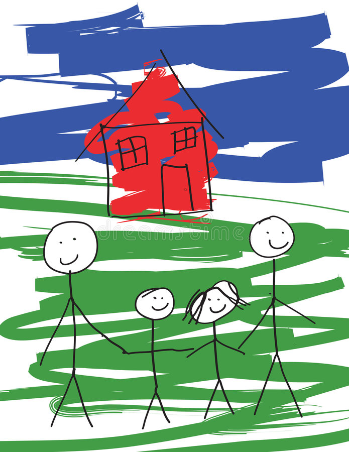 Familia masculina alegre libre illustration
