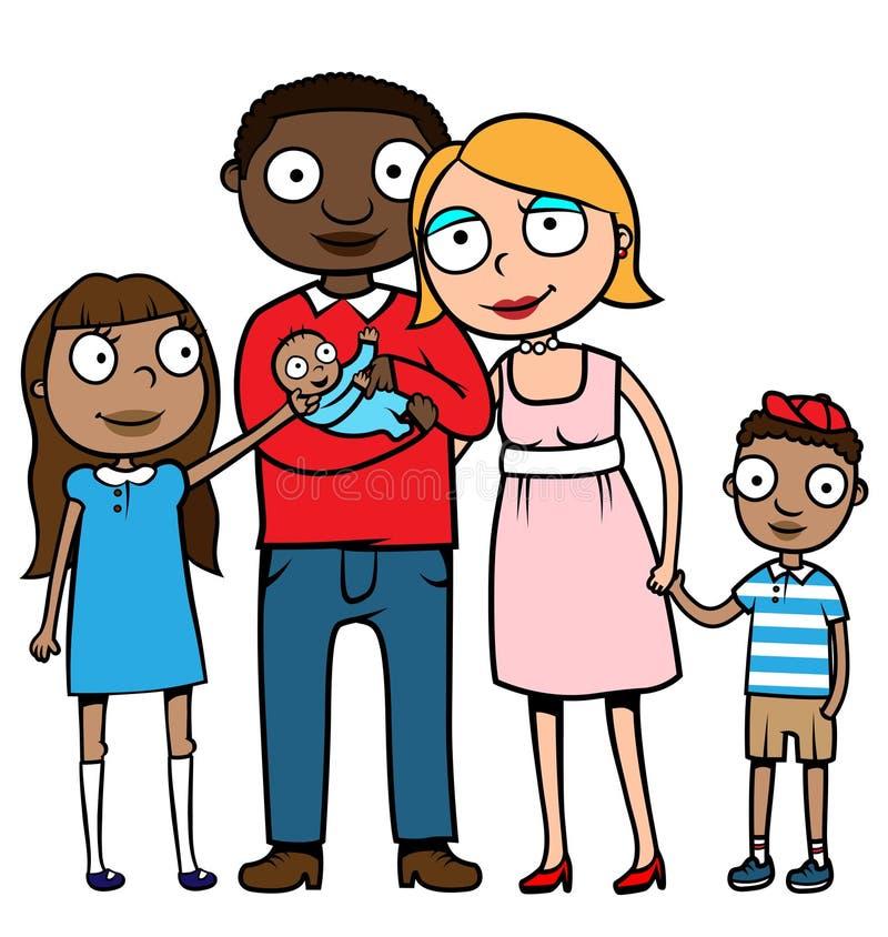 Familia mezclada de la pertenencia étnica stock de ilustración