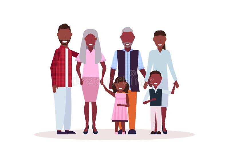 Familia multi de la generación que se une padres afroamericanos felices de los abuelos y la historieta hembra-varón de los niños ilustración del vector