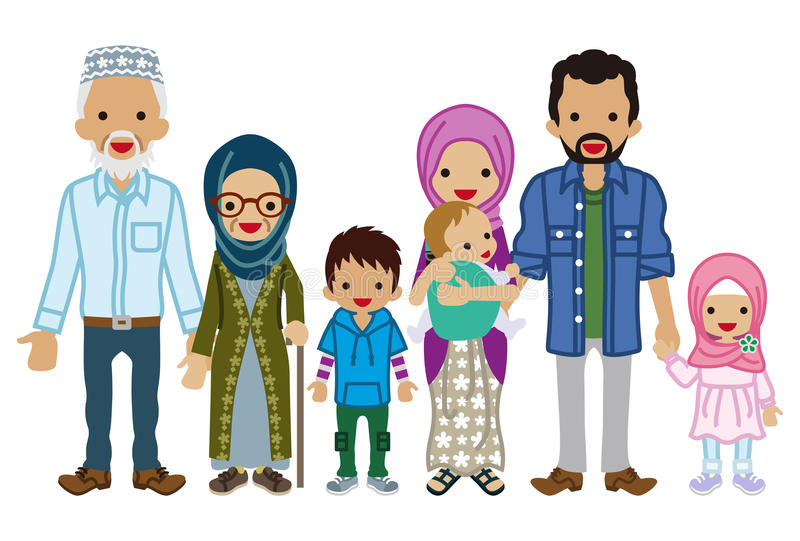 Familia multigeneración - musulmán stock de ilustración