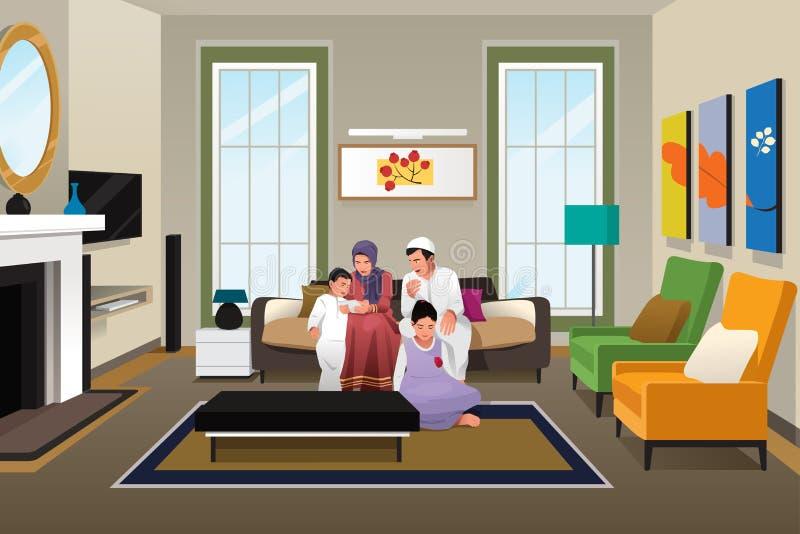 Familia musulmán feliz en casa stock de ilustración