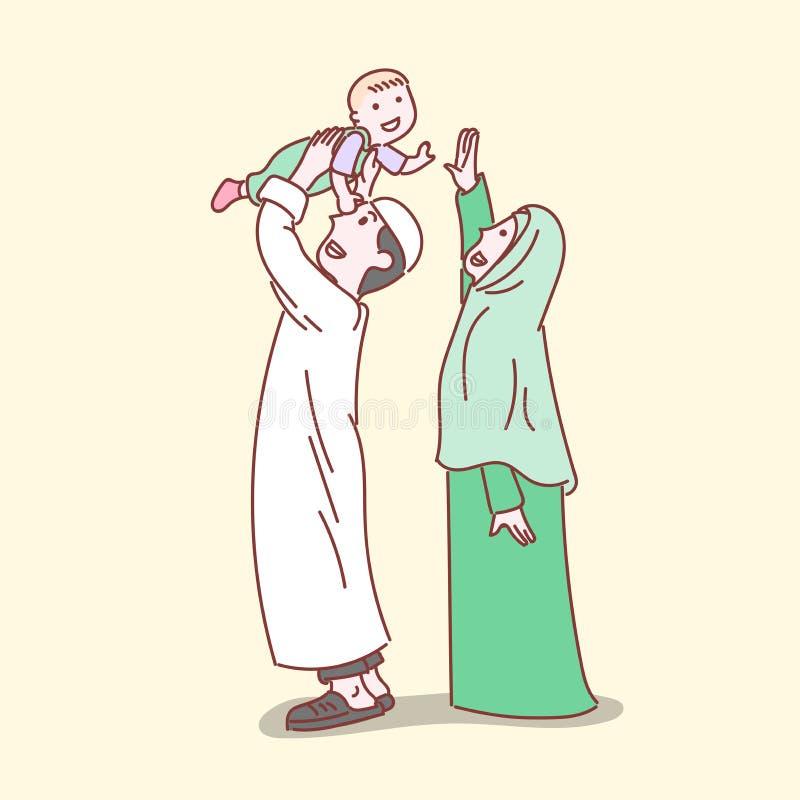 Familia musulmán feliz, línea simple ejemplo de la historieta stock de ilustración
