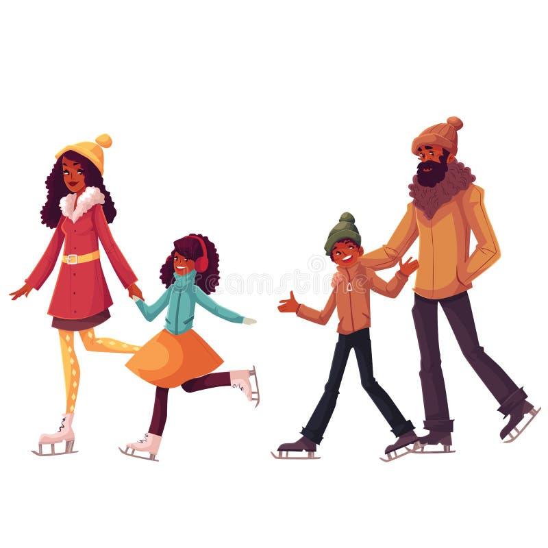 Familia negra de patinaje de hielo del padre, de la madre, de la hermana y del hijo junto stock de ilustración