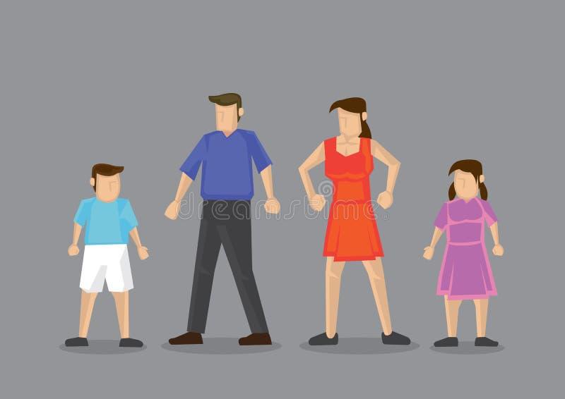 Familia nuclear con el ejemplo del vector de dos niños libre illustration